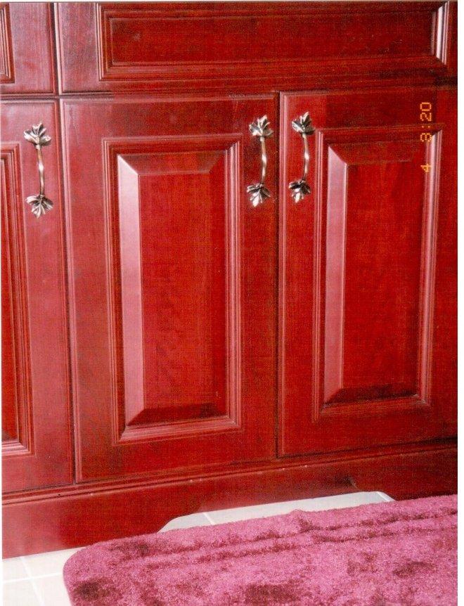 Custom European Cherry Vanity with Furniture Base